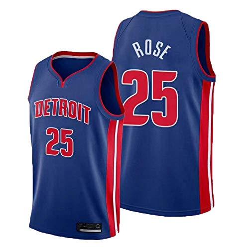 XH-Sport Herren Basketball Kleidung, Detroit Pistons # 25 Derrick Rose Classic Trikot, Vintage Cool Atmungsaktives Gewebe All-Star Unisex Fan Uniform,A,M(175CM/65~75Kg)