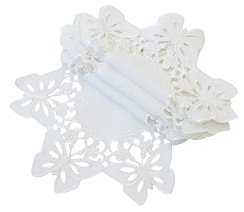 Xia Home Fashions Primavera Embroidered Cutwork Spring Doilies, 8-Inch Round, White, Set of 4