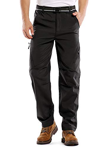 Toomett Men's Snow Ski Fleece Pants Fleece Lined Soft Shell Outdoor Waterproof Hiking Bottoms (3...