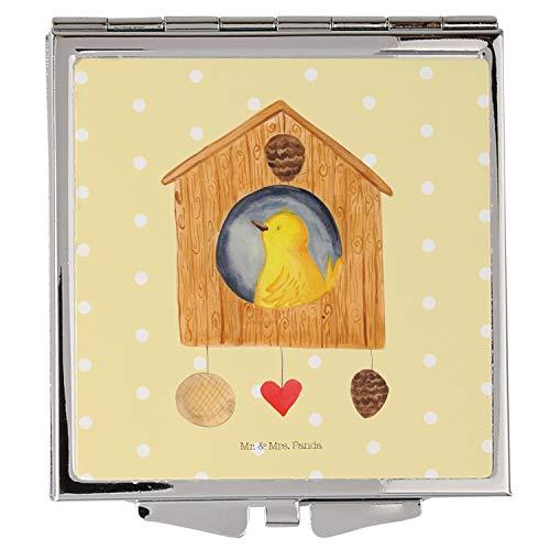 Mr. & Mrs. Panda Handtasche, schminken, Handtaschenspiegel quadratisch Vogelhaus - Farbe Gelb Pastell