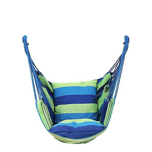 XXL Silla Colgantes with Almohada + Cuerda,130x100cm (Capacidad de Carga 200 Kg) Azul Sillas Salon para Hamaca Interior Al Aire Libre