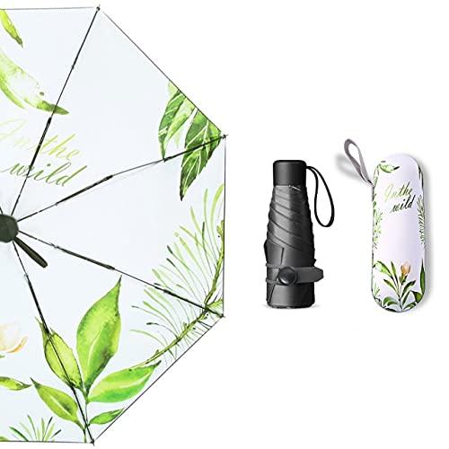 Mini Paraguas Plegable para Mujer, Paraguas automático Rain Lady, Planta Verde, sombrilla, Paraguas a Prueba de Viento y protección UV, no automático, 5 Plegables