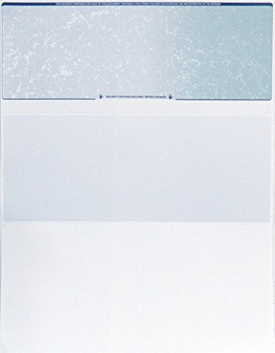 CheckOMatic Computer Check Paper - 100 Pack - Top Blank Stock Checks - Security Features & Laser Printer Compatible - Blue Green