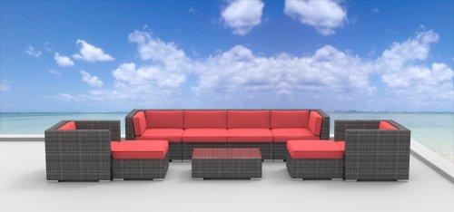 Hot Sale Urban Furnishing - FIJI 9pc Modern Outdoor Backyard Wicker Rattan Patio Furniture Sofa Sectional Couch Set - coral red