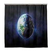 KAPANOU防水 シャワーカーテン 世界の穏やかな星空宇宙印刷 かわいいシャワーカーテン ユニットバス バスルーム 芸術の装飾 180cmx180cm バスフック付き 取り付け簡単