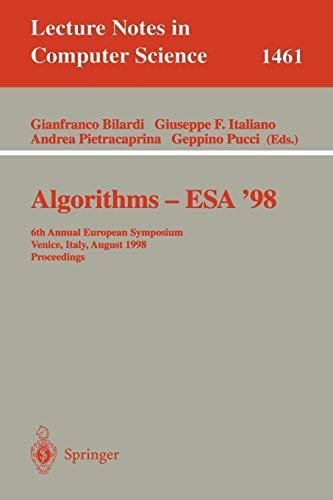 Algorithms-Esa \'98: 6th Annual European Symposium, Venice, Italy, August 24-26, 1998 : Proceedings