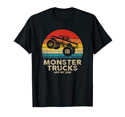 Cool Vintage Monster Truck Are My Jam Retro Sunset T-Shirt