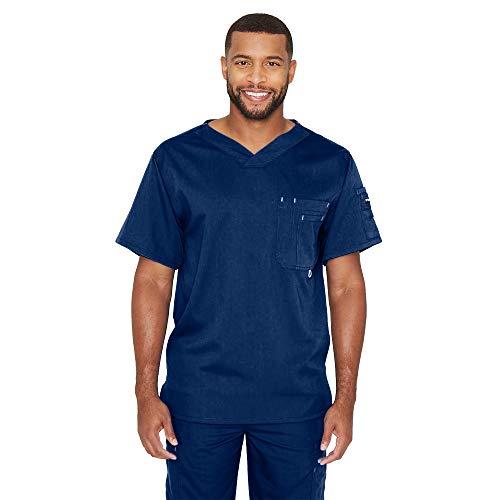 Grey's Anatomy Men's Modern Fit V-Neck Scrub Top, Indigo (Navy), Medium