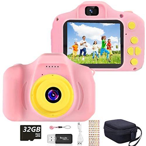 HaiGeng Cámara para Niños 12MP Selfie Cámara Digital 1080P HD Video Cámara Infantil 32GB TF Tarjeta, Estuche de Transporte, Batería Recargable 1200 mAh,2 Pulgadas, Regalos Juguete - Rosa