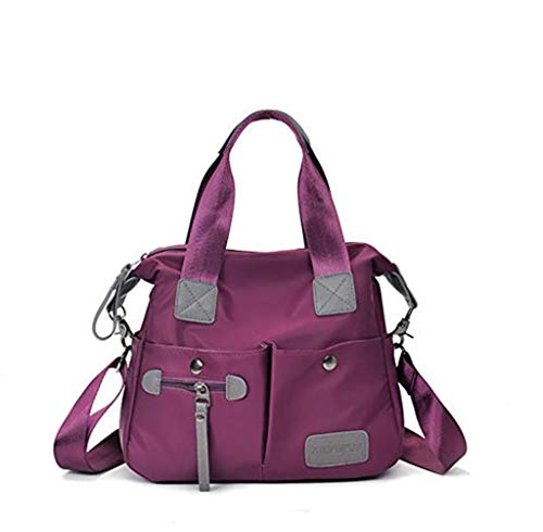 Bolso Bandolera Mujeres, Popoti Bolsas de Hombro Mano Impermeable Nylon Totalizador del Monedero Mochila Escolar Portátil Billetera Multifuncional Crossbody Bag (Púrpura)