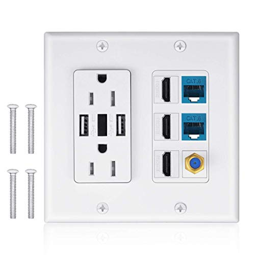 2 Power Outlet 15A with Dual 2.4A USB Charger Port Wall Plate with LED Lighting, IQIAN 3 HDMI HDTV + 2 CAT6 RJ45 Ethernet + Coaxial Cable TV F Type Keystone Face Plate White …