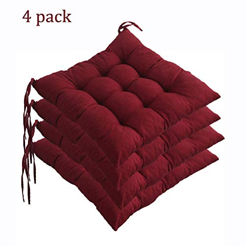 L.TSN YYRZ Wicker Seat Cushion, Chair Cushion Outdoor Patio, Indoor/Outdoor Patio Furniture Cushions Pad, with Ties for Non Slip, Durable, Superior Comfort and Softness, Set of 4, 40X40cm,Wine red