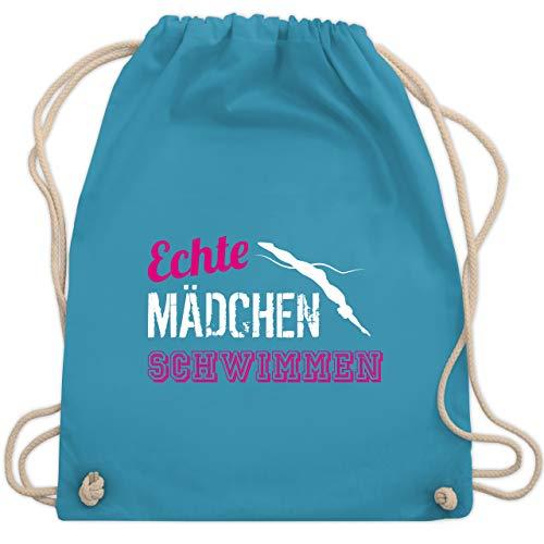 Shirtracer Wassersport - Echte Mädchen schwimmen - Unisize - Hellblau - nasse sachen - WM110 - Turnbeutel und Stoffbeutel aus Baumwolle