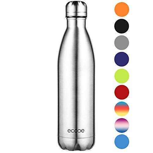Ecooe Thermosflasche 750ml Doppelwandig Trinkflasche Edelstahl Wasserflasche Vakuum Isolierflasche Silber