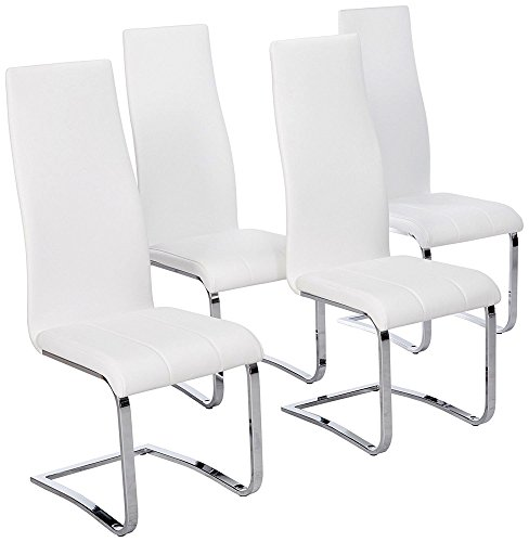 stylish white leather dining chair set