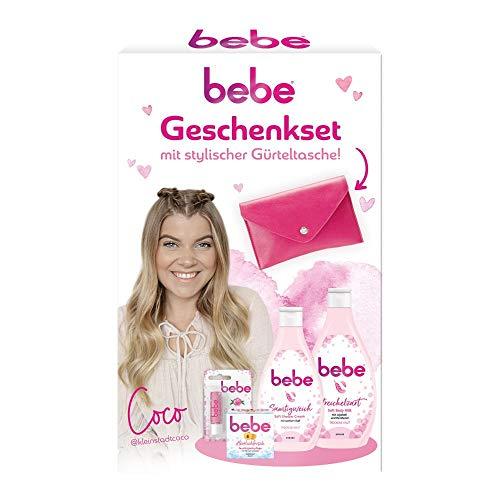 bebe Wohlfühl Geschenke für Frauen zu Weihnachten als Geschenkset mit Soft Body Milk, Soft Shower Cream, Gesichtspflege und Lippenpflege, inkl. Gürteltasche, Pflege Set für den Winter, 4-teilig