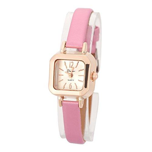 Orologi per donna, orologio da polso alla moda analogico da polso al quarzo con cinturino in PU omega coach noi mulco rosso(rosa)