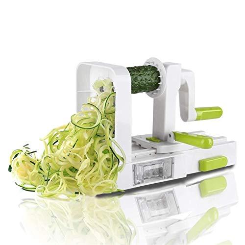 Inox 5 Blade légumes Spiralizer pliant Veggie spaghetti pomme de terre végétale Spiral Cutter Zucchini Trancheuse ambidextre (Color : Light Green)