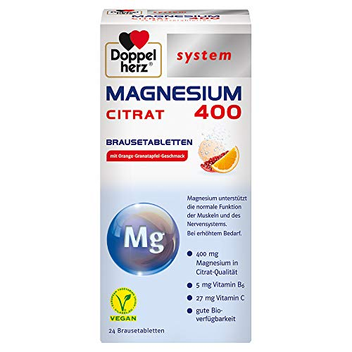 Doppelherz system MAGNESIUM 400 CITRAT BRAUSETABLETTEN – Gute Bioverfügbarkeit – Für die schnelle und langfristige Magnesiumversorgung – 24 Brausetabletten