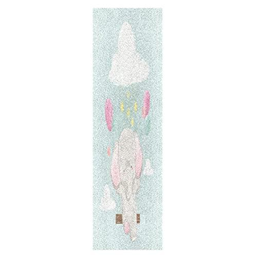 Lindo Bebé Elefante Arcoiris Monopatín Papel de Lija Antideslizante Hoja Cinta de Agarre Lijas para Patineta Scooter Etiquetas engomadas (84 x 23 cm)