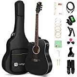 Vangoa Left Handed Acoustic Electric Guitar Bunlde for Beginner Adult Teen 41 Inch Full Size Dreadnought Cutaway Lefty Acustica Guitarra Kit with Gig Bag and User Manual, Black