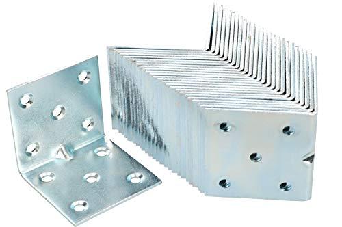 KOTARBAU Winkelverbinder 50 x 50 x 50 mm Sicke Stahl Bauwinkel Montagelöcher Möbelwinkel Verzinkt Schwerlast Holzverbinder Montagewinkel Stuhlwinkel (50)