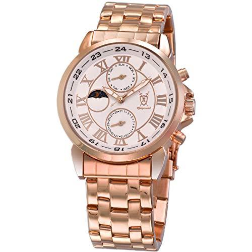 Konigswerk Mens Rose Gold Tone Bracelet Watch Roman Numerals Day Date Sun Moon Display AQ202461G