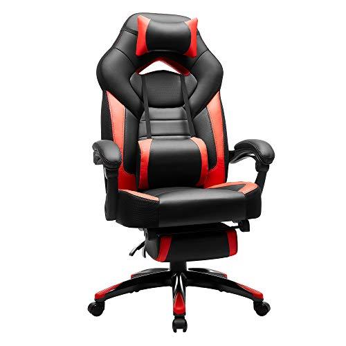 SONGMICS Gamingstuhl, Bürostuhl mit Fußstütze, Schreibtischstuhl, ergonomisches Design, verstellbare Kopfstütze, Lendenstütze, bis zu 150 kg belastbar, Schwarz-Rot, OBG77BR