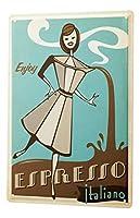 ブリキサインメタルプレート装飾サイン家の装飾プラーク楽しいキッチンデコレーションエスプレッソコーヒーメーカーイタリア人女性漫画メタルプレート
