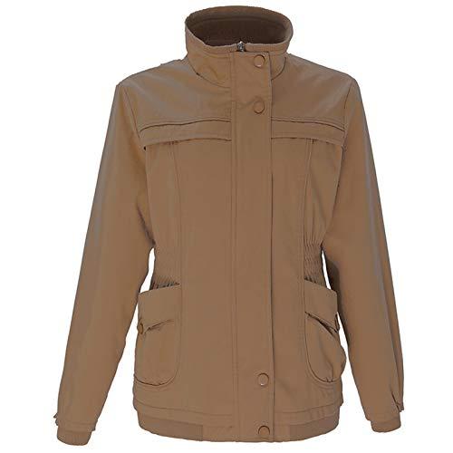 AOJIAN Women Cotton Down Coat Long Sleeve Warm Thicken Jackets Stand Collar Windbreaker Parkas Casual Overcoat (Coffee, L)