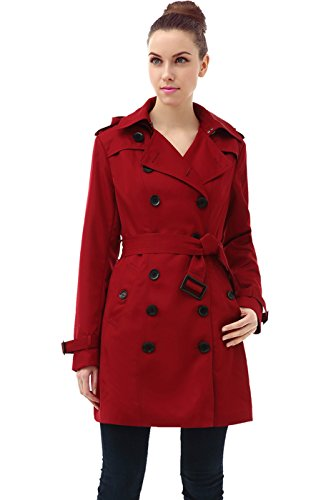 BGSD Women's Leah Hooded Mid Length Trench Coat - Red L