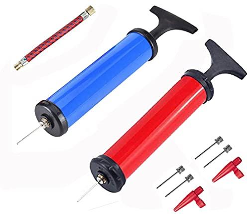 SoftcuteLee 2 piezas de bomba de bola portátil herramienta infladora bomba de bola de aire manual kit de bombas para, rugby Globos con 4 agujas y 2 adaptadores de válvula, 1 manguera de aire