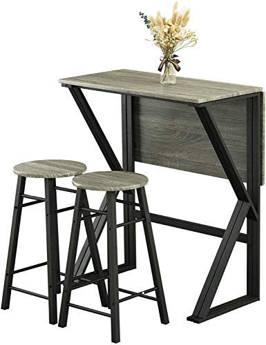 ZHFC Two-in-one foldable dining table,5-Piece Drop-Leaf Bar Dining Table Set, Folding Pub High Table with 4 Round Bar Stools for Kitchen Dining Room Coffee table