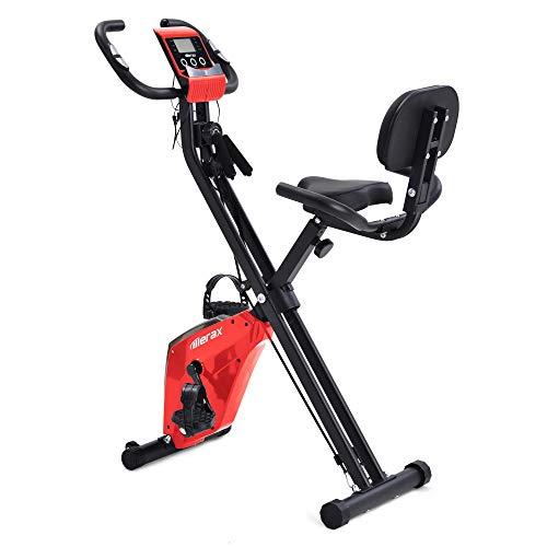 Joycelzen Cyclette Pieghevole, F Bike con Display LCD, Spin Bici con Livelli di Resistenza Regolabili e Sensori di Pulsazioni, Resistenza Max. 135kg per Home Gym Office, Fitness, Bodybuilding, Rosso