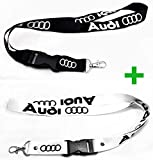 Black & White Lanyards 22 inch 2 in 1 Package for Audi