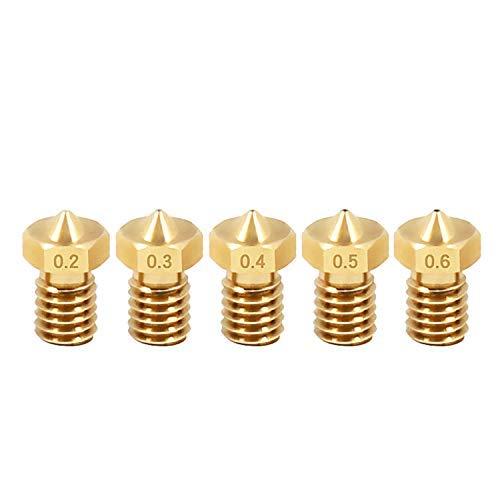 5 boquillas para impresora 3D de 0,4 mm E3DV5 V6 M6, boquilla extrusora de 0,1 mm - 1 mm para filamento de 1,75 mm o 3 mm, cabezal de impresión de latón (1,75/0,2 mm)