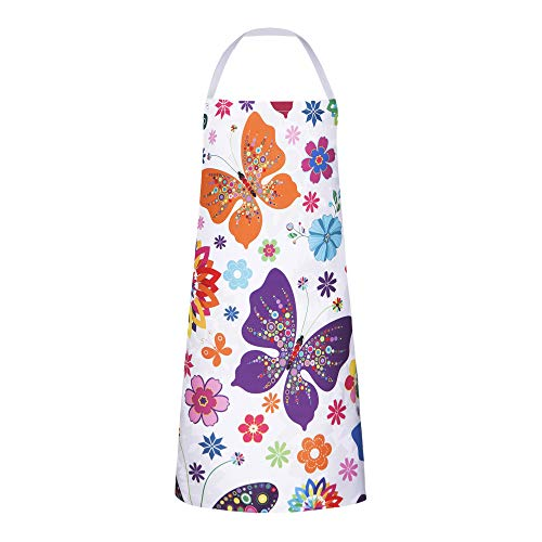 RosieLily Butterfly Apron Cute Aprons for Women Floral Apron Kitchen Apron for Cooking Baking Gardening Grilling BBQ Flower Gifts for Women Pretty Colorful Butterflies