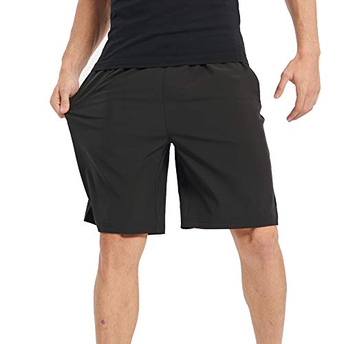 TOP-3 Workout Athletic Gym Mens Shorts for Running Basketball,9 Inch Inseam Elastic Waist with Drawstring and Pockets(TMS02 Black L)