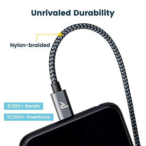 RAMPOW Micro USB Ladekabel, 1M/ 2-Stücke, mit Nylon geflochtenes Micro USB Schnellladekal geeignet für Android Smartphones, Samsung Galaxy, HTC, Huawei, Sony, Nexus, Kindle und mehr - dunkelgrau