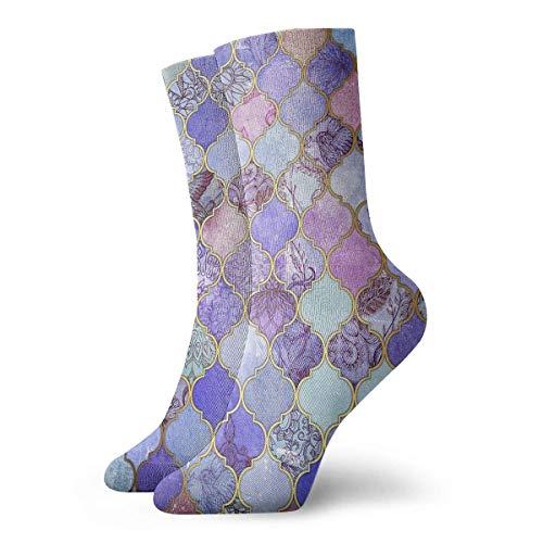 Tammy Jear Royal Purple Mauve Indigo Marokkanische Fliesen Neuheit Crew Socken Athletic Socks Strümpfe 30CM