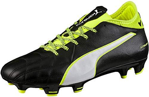 PUMA Evotouch 3 Lth FG, Scarpe da Calcio Uomo, Black White Safety Yellow 01, 41 EU