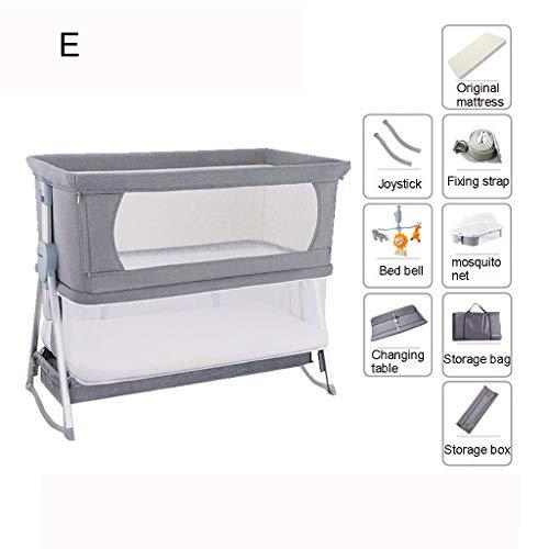 liu Baby-Nachttischschläfer, zusammenklappbarer Baby-Stubenwagen mit atmungsaktivem Netz und Matratze, inklusive Tragetasche und Sicherheitsgurten, Einstellbarer Höhe und Winkel, grau