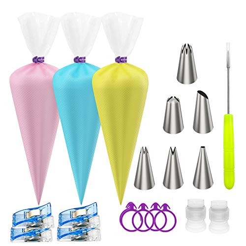 Ouddy Tipless Piping Bags, 100Pcs Pastry Piping Bags Disposable Cake Decorating Bags Cupcake Frosting Icing Piping Bags with 6 Piping Tips 6 Couplers 6 Icing Bag Ties (12 Inch +16 Inch)