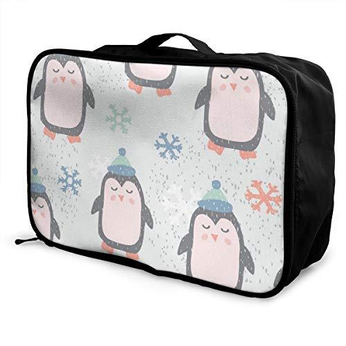 Opvouwbare Cube Reistas Mode Lichtgewicht Grote Capaciteit Draagbare Bagage Tas (Kinder Naadloos Patroon Met Leuke Pinguïn), 15