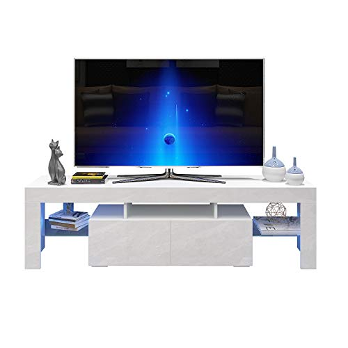 AUXSOUL Glossy LED Entertainment Stand for 70 Inch TV - Modern LED TV Cabinet with 2 Large Drawers - Media Game Console Table - TV Stand for Media Player, TV Table Media Furniture (63 inch White)
