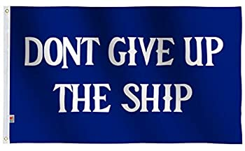 rhungift Pirate Don t Give Up The Ship Flag Large 3x5 Ft Moderate-Outdoor 100D Polyester Commodore Perry,Oliver Hazard Perry,Naval Battle Games Flag