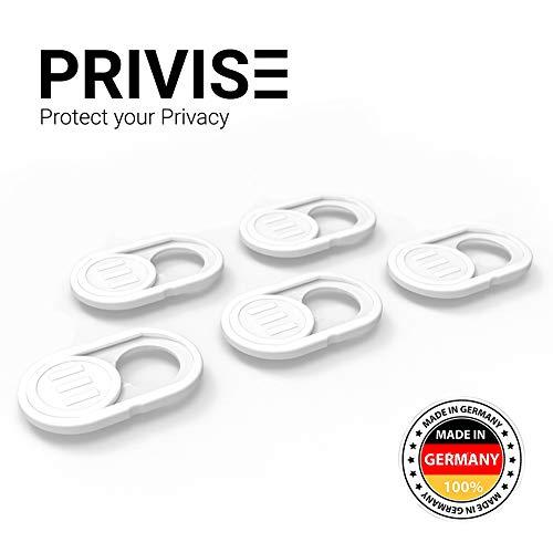Privise© Webcam Abdeckung Made in Germany • Webcam Cover • für Laptop MacBook, iMac & Handy • Ultra dünn • Sticker mit starkem Halt • wirksamer Schutz vor Hackern • 5er-Set weiß