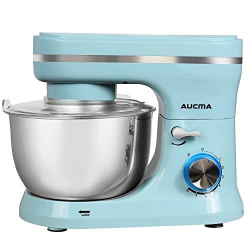 Küchenmaschine,Aucma 5,5L Knetmaschine Rührmaschine mit 2 Edelstahlschalen,Rührbesen, Knethaken, Schlagbesen, Spritzschutz, 8 Geschwindigkeit mit Edelstahlschüssel Teigmaschin,Blau