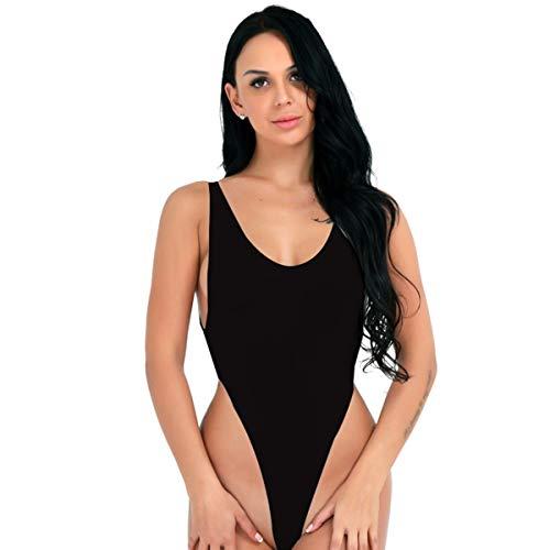 CHICTRY Damen Body Achselhemd Unterhemd Lingerie Dessous Top Transparent Bodysuit Push up Bikini Monokini Schwarz Weiß Schwarz Einheitsgröße