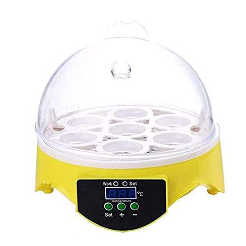 CandyTT Incubadora de Huevos de 7 Huevos Incubadora de Huevos de Aves Incubadora de Huevos en Miniatura semiautomática Incubadoras domésticas de Palomas (Amarillo + transparenteEU)